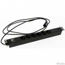 Hyperline SHE19-6SH-2.5IEC Блок розеток для 19″ шкафов, горизонтальный, 6 розеток Schuko (10A), 250В, кабель питания 3х1.0мм2, длина 2.5 м, с вилкой IEC 320 C14, 482.6x44.4x44.4мм (ДхШхВ)