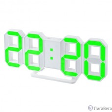 Perfeo LED часы-будильник ″LUMINOUS″, белый корпус / зелёная подсветка (PF-663)