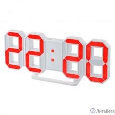 Perfeo LED часы-будильник ″LUMINOUS″, белый корпус / красная подсветка (PF-663)