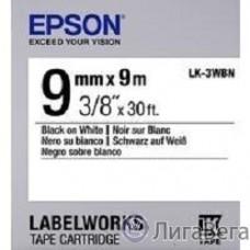 EPSON C53S653003 Термотрансферная лента для Epson LK-3WBN (9мм x 9м, Black on White)