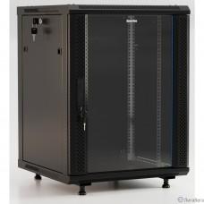 Hyperline TWB-FC-1266-GP-RAL9004 Шкаф настенный 19-дюймовый (19″), 12U, 650x600x600 мм, стеклянная дверь с перфорацией по бокам, ручка с замком, с возможностью установки на ножки, цвет черный RAL 9004