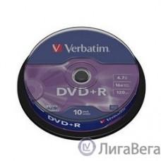 Verbatim  Диски DVD+R  4.7Gb 16х, 10 шт, Cake Box (43498)