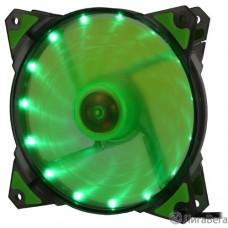 CROWN Вентилятор для компьютерного корпуса CMCF-12025S-1222 (120*120*25мм;Зелёный 16LED;1500 об/мин;35CFM;20Дб;Подшипник скольжения;3pin+MOLEX(папа-мама) 40+10см)