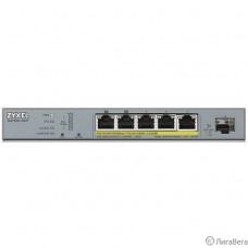 ZYXEL GS1350-6HP-EU0101F L2 коммутатор PoE+ для IP-видеокамер 4xGE PoE+, 1xGE PoE++ (802.3bt), 1xSFP, бюджет PoE 60 Вт, дальность передачи питания до 250 м, автоперезагрузка PoE-портов