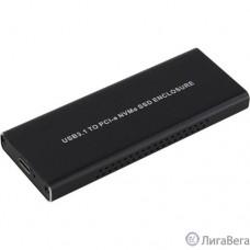 ORIENT 3550U3, USB 3.1 Gen2 контейнер для SSD M.2 NVMe 2230/2242/2260/2280 M-Key, PCIe Gen3x2 (JMS583), до 10 GB/s, поддержка UAPS,TRIM, разъем USB3.1 Type-C + кабель USB3.1 Type-A, черный (30900)