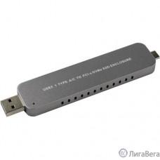 ORIENT 3552U3, USB 3.1 Gen2 контейнер для SSD M.2 NVMe 2242/2260/2280 M-key, PCIe Gen3x2 (JMS583),10 GB/s, поддержка UAPS,TRIM, разъем USB3.1 Type-A + Type-C, корпус в виде флешки, черный (30902)