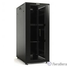 Hyperline TTB-4788-DD-RAL9004 шкаф напольный 19-дюймовый, 47U, 2277x800x800 мм (ВхШхГ), передняя и задняя распашные перфорированные двери (75%), ручка с замком, крыша нового типа, цвет черный (RAL 900