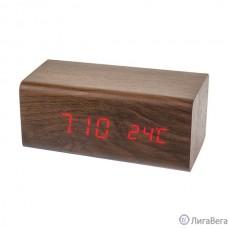 Perfeo LED часы-будильник ″Block″, коричневый/красная (PF-S718T) время, температура