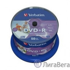 Verbatim  Диски DVD+R  4.7Gb 16-х, Wide Photo InkJet Printable,  50 шт, Cake Box (43512 )