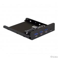 Exegate EX283579RUS Планка USB на переднюю панель ExeGate U3H-623, 3,5″, 3*USB3.0+1*TypeC, черная, металл, подсоединение к мат. плате