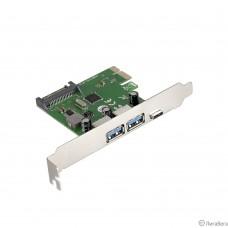 Exegate EX283719RUS Контроллер EXE-323 PCI-E 2.0, 2*USB3.0 ext + 1*Type-C, разъем доп.питания (OEM)