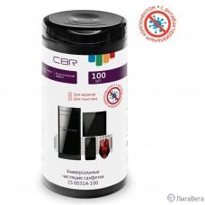 CBR CS 0031A-100, Антибактериальные чистящие салфетки, 100 шт., нарезка 100х120 мм, антистатик, срок годности 2 года, туба