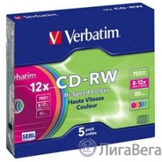 Verbatim  Диски CD-RW  8-12x 700Mb 80min (Slim Case, 5 шт.) [43167]