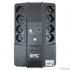 SVC,U-1000/BSSC, ИБП, Л-И.,1000ВА/600Вт, Вход:220В, AVR:162-290В, Вых.:220В±10%, АКБ 1*12В/10Ач, Вых.раз: 4*Schuko CEE7/4+4*Schuko CEE7/4(без бат. поддержки)+2*USB(A), Светодиод. индикация, Напольный